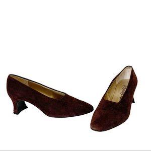 Yves Saint Laurent vintage brown suede pumps